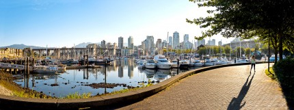 Seawall jogger near Granville Island - False Creek neighbourhood