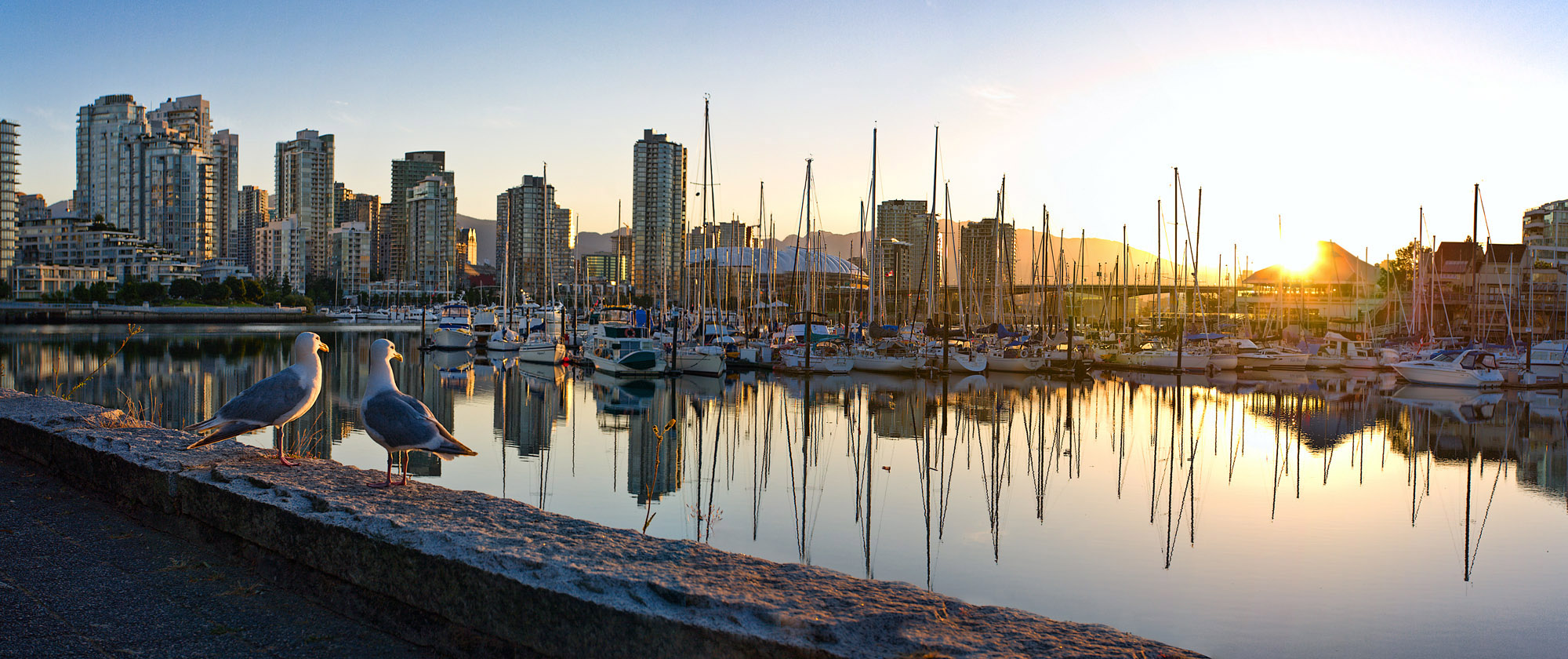 Sunrise on the Seawall near Leg-in-boot Square - False Creek neighburhood