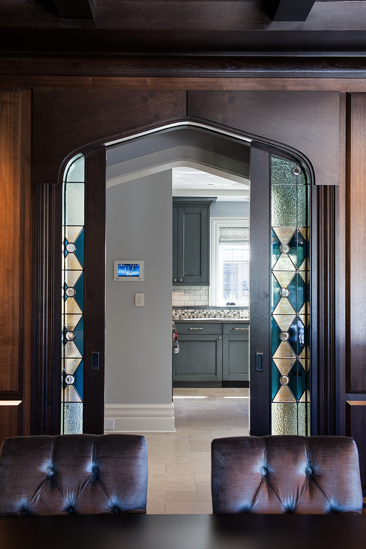 Custom stained glass doors to kitchen