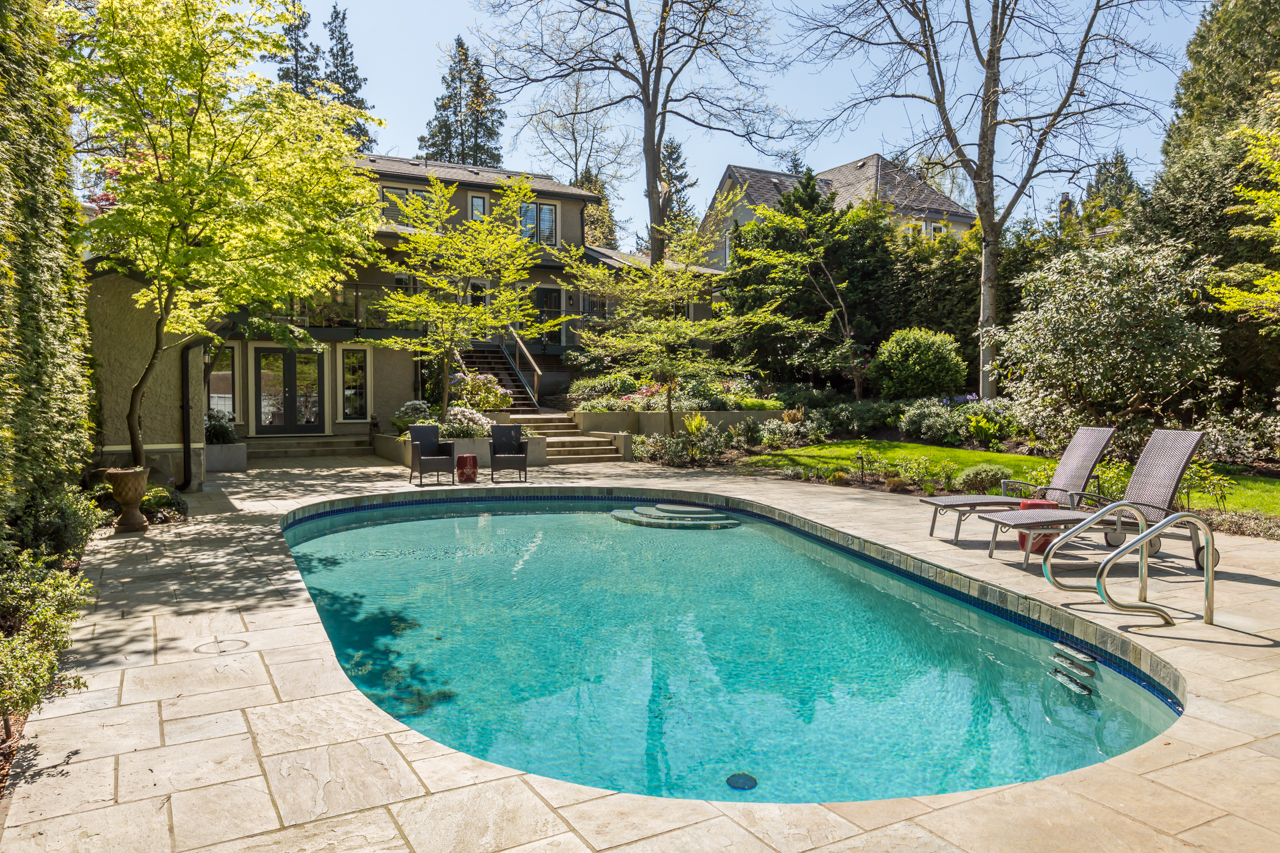Sun-drenched patio and outdoor pool