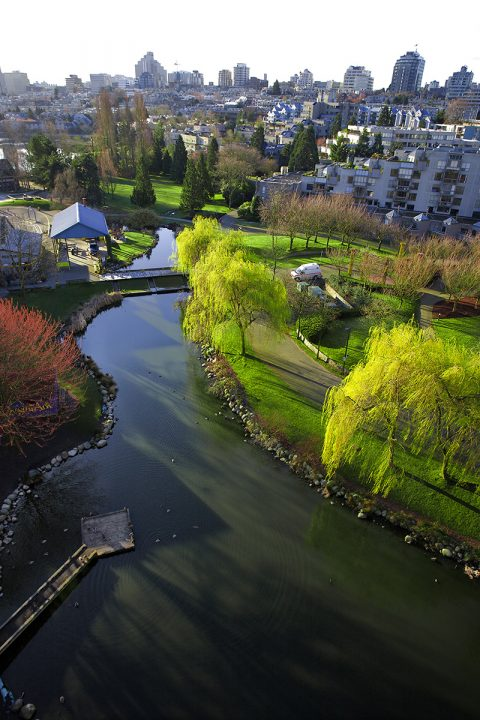 View of Granville Island from the Granville Bridge - False Creek neighburhood