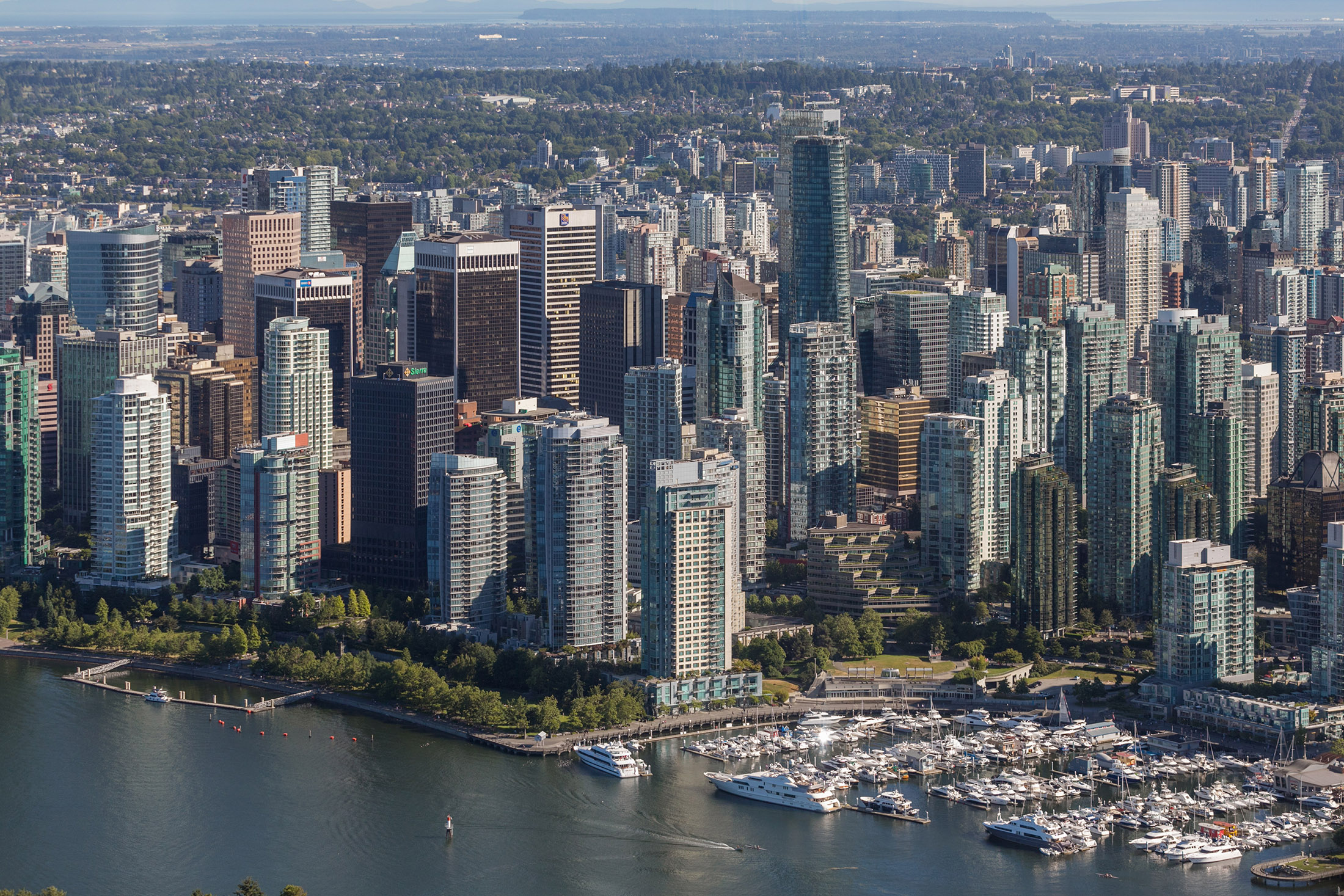 Aerial view of Vancouver Coal Harbour neighbourhood