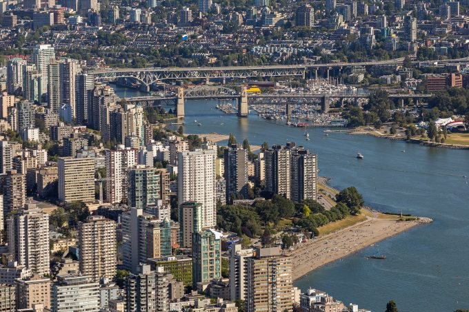 Areal view of English bay and apartment towers - Vancouver West End neighbourhood