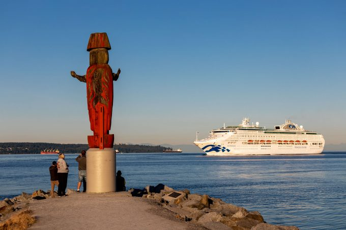 Cruise ship entering Burrard Inlet near West Vancouver